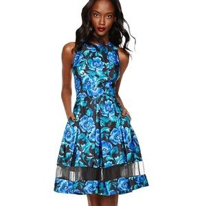 Eliza J Cutout Floral Print Fit & Flare Dress blue